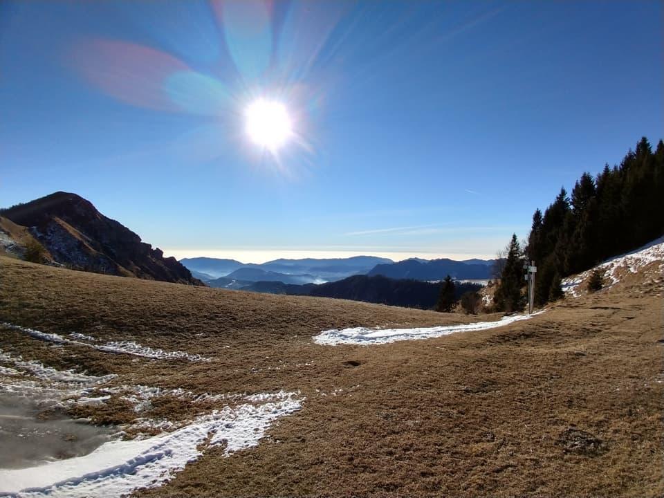 Splendido anche il panorama dal Dosso Falcone, situato tra l'Ario e la Pezzeda