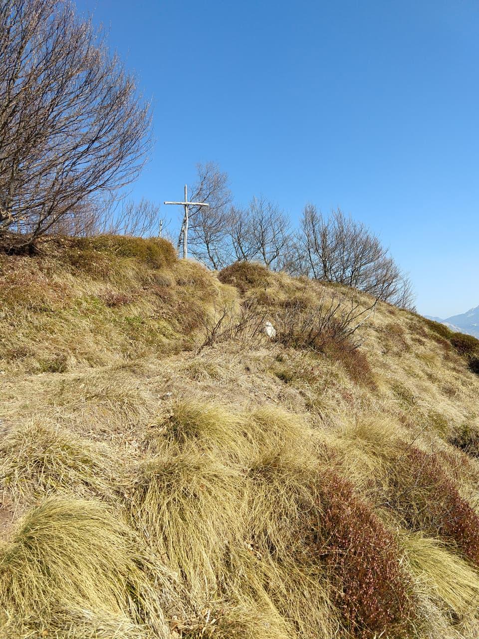 Ed ecco la piccola Croce in legno del Monte Breda, mancano solo pochi passi