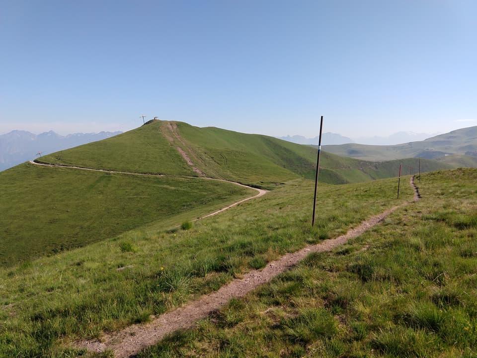 Il sentiero prosegue in leggera discesa lambendo la vetta del Monte Splaza