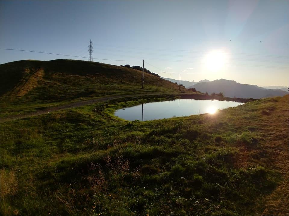 Nei pressi di Malga Pontogna posso ammirare il sole che si specchia in questa piccola pozza d'acqua
