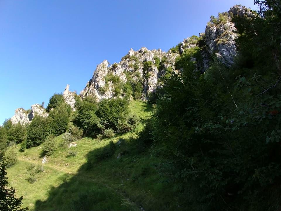 Per raggiungere la strada del Baremone il sentiero transita sotto la rocciosa Cima Valcaelli